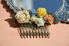 Cabochon utopia bridal bride hair pin comb romantic vintage modern flowers antique victorian white blue yellow pink pearl leaf filigree by AdoredByYou on Etsy