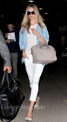 nice Seen on Celebrity Style Guide: Rosie Huntington-Whiteley arrives at LAX in nice summer colors wearin... Celebrity Style Check more at http://pinfashion.top/pin/56686/