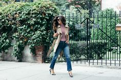 Strut your stuff like @krystal_bick in this season's hottest denim: Distressed High Waisted Bell Crop Jeans.
