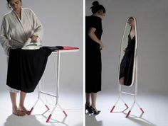 An ironing board that flips over and becomes a standing mirror.