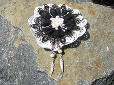 Brooch, Large brooch, Brooch in Boho style, Brooch with pearls, Lace brooch, Black and White