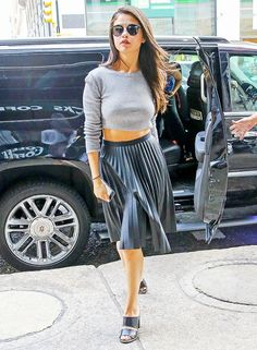Cropped sweater + pleated midi || September Style Tips: How to Look More Fashionable Now via @WhoWhatWear