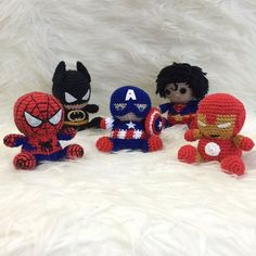 Pack 5 in 1 Batman Captain America Ironman Spiderman Superman Muster Amigurumi Superheld Avengers Marvel easy Crochet Crochet Tutorial Crochet Crafts, Crochet Toys, Crochet Projects, Batman Amigurumi, Make Your Own Superhero, Batman Spiderman, Superhero Superman, Boy Doll, Crochet Basics