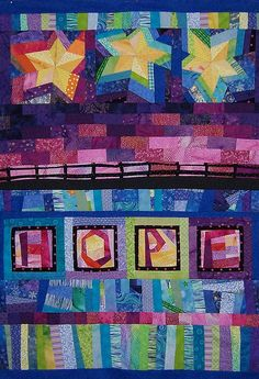 HOPE quilt with hand dyed fabrics and Batik.  by Carmen Rose Shenk
