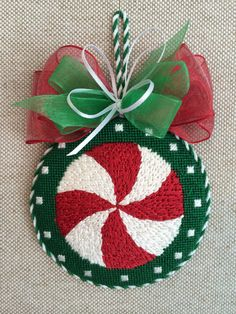 Peppermint Ornament ~ Needlepoint Canvas by Melissa Shirley