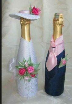 Wine bottles decor Other - Wine bottle decor newly wed Glass Bottle Crafts, Wine Bottle Art, Diy Bottle, Decorated Wine Glasses, Painted Wine Glasses, Decorated Bottles, Painted Bottles, Wedding Bottles, Wedding Glasses