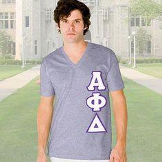 Alpha Phi Delta V-Neck T-Shirt - Vertical - American Apparel 2456 - TWILL