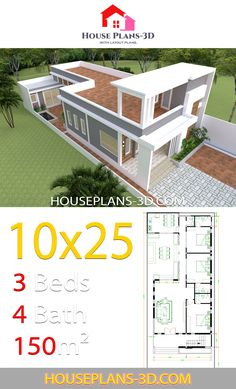 Design layout House Design Plans with 3 bedrooms - House Plans Little House Plans, Small House Floor Plans, Dream House Plans, House Front Design, Small House Design, Modern House Design, Home Building Design, Home Design Plans, Small Contemporary House Plans