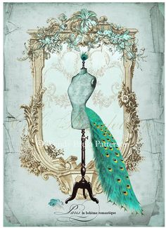 French Mannequin Art Print Peacock Plume ACEO Giclee