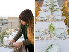 put some simple greens like olive branches in vases and make these kraft paper table runners