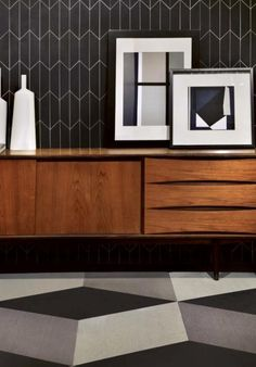 Great mix of achromatic geometric patterns with wood.