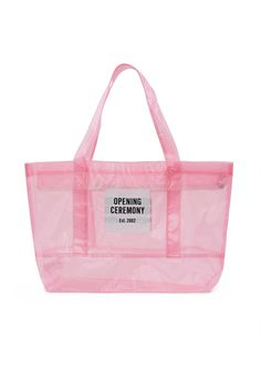 Opening Ceremony, Medium PVC Mesh Tote Bag OC's thermoplastic shopping totes first appeared during 2016's Year of China. This Spring/Summer 2018, Torch updates OC's signature bags in a sturdy, translucent tarp material. Available in three colorways: clear, pink, and blue., OC EXCLUSIVE, Top handles, Top zipper closure, Front pocket with OC logo patch, 100% PVC, Imported