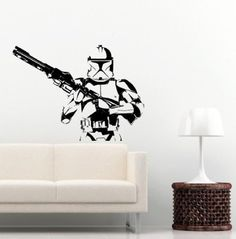"""Star Wars Storm Trooper Wall Vinyl Art Decal Iconic Kid Room Sticker Decor 30""""W Sold By """"Silhouette Society"""""""