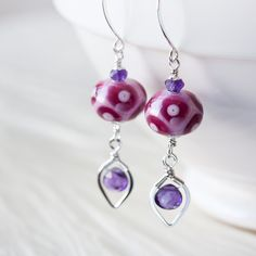 Orchid Pink and Purple Lampwork Earrings with Amethyst