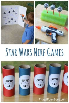 Wars Themed Nerf Games Three Star Wars themed Nerf games - these would be great for a party, or for a rainy day.Three Star Wars themed Nerf games - these would be great for a party, or for a rainy day. Disney Party Games, Kids Party Games, Star Wars Party Games, Star Wars Birthday Games, Disney Themed Games, Lego Star Wars Games, Girls Star Wars Party, Disney Parties, Parties Food