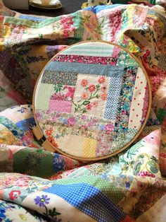DIY thread and thrift inspiration * Hand embroidered quilt embroidery hoop art * Perfect use of vintage fabrics!! Inspiring  Happiness one stitch at a time!