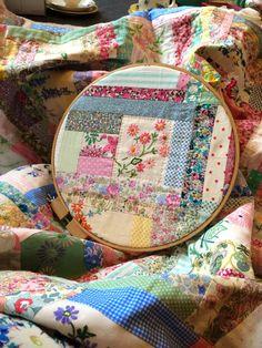 @ HenHouse: beautiful quilt - vintage linens, hand quilting