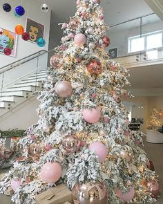 One of the most magical, sugar plum fairy fantasy trees I've ever seen. Wowed by this beauty at Kylie Jenner's house, created by the brilliant floral designer and matched perfectly to my interiors! Kylie Christmas, Kardashian Christmas, Pink Christmas Tree, Christmas Fairy, Very Merry Christmas, Beautiful Christmas, Christmas Holidays, December Holidays, Modern Christmas