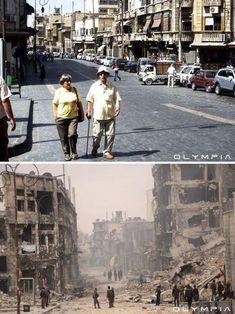 シリア内戦で変わり果てた世界最古の都市アレッポの景観ビフォア・アフター写真