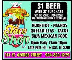 A Favorite with the Locals - downtown on St. Nacho Taco, Downtown Restaurants, Taco Shop, Flagler Beach, Quesadilla, Tostadas, Nachos, Burritos, Mexican Food Recipes