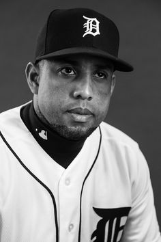 Image converted to black and white.)  Francisco Rodriguez #57 of the Detroit Tigers poses for a portait during a MLB photo day at Publix Field at Joker Marchant Stadium on February 19, 2017 in Lakeland, Florida.