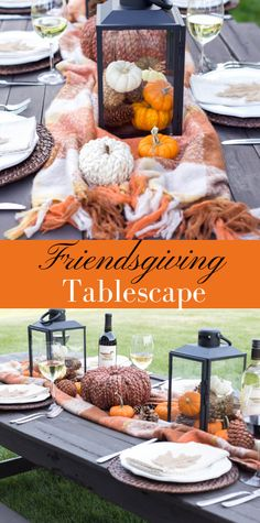 Easy Friendsgiving/Thanksgiving Tablescape. I love the mini pumpkins and plaid blanket for a warm and inviting look for Fall.