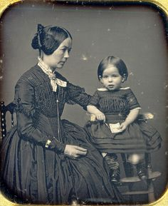 Victorian Mother and Girl in High Chair. Daguerreotype