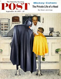 """The Saturday Evening Post """"Batman and Robin"""" by Phil Postma Norman Rockwell style ❤️❤️❤️❤️"""