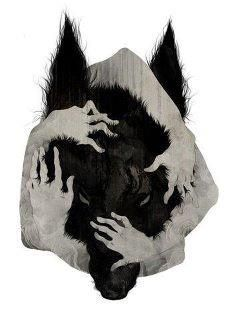 Embrace the wolf within/This reminds me so much of LRRH - Gran & wolf, Red & wolf, all three...
