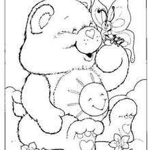 Funshine Bear with a butterfly coloring page - Coloring page - CHARACTERS coloring pages - TV SERIES CHARACTERS coloring pages - CARE BEARS coloring pages - FUNSHINE BEAR