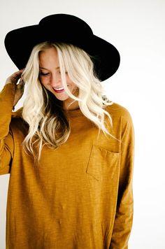 platinum blondes   black hats   dark mustard yellow long sleeves   fall outfits   pockets