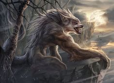 Ravager of the Fells, an art print by Magali Villeneuve - INPRNT Fantasy Rpg, Fantasy Artwork, Fantasy Races, Fantasy Creatures, Mythical Creatures, Mythological Creatures, Of Wolf And Man, Shadow Wolf, Werewolf Art