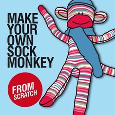 Sewing Tutorial, PDF Pattern - Sock Monkey, Stuffed Toys, DIY Kits