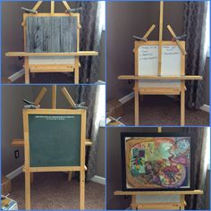 "If you have kids, you have one or can get one at the thrift store. Needed a sturdy easel for heavy & large projects. So, remembered my son's easel stored far away in the basement. Customized it with some 1""oak. I use a piece of whiteboard for a flat surface when needed. It has the bonus of already having a storage shelf, a chalkboard, & whiteboard, and best of all folds up easily. One of my most used projects & I recall precious memories of my son-Kim"