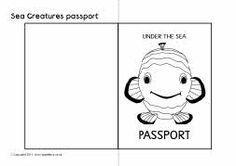 Ocean creatures passport writing frames