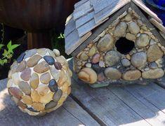 Garden pebble gazing ball