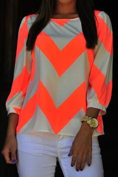 Wild Wide Chevron Top: Neon Orange