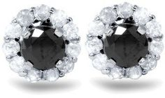 Pompeii3 1ct Black Spinel Studs & Diamond Halo Earring Jackets 14k White Gold.