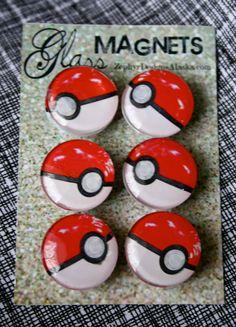 Glass Magnets  Pokeballs by ZephyrDesignsAlaska on Etsy, $8.00