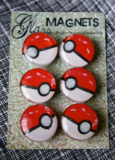 Glass Magnets  Pokeballs by ZephyrDesignsAlaska on Etsy, $8.00