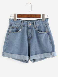 Shop Blue Cuffed Denim Shorts online. SheIn offers Blue Cuffed Denim Shorts & more to fit your fashionable needs.