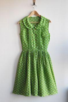 apple green print dress via annex vintage.