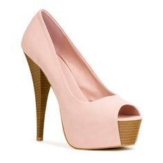 Love, love this shoe!! Blush is such a beautiful color on anyone!! Open toe means more room, not a squished tight fit.. Like the contrast wood heel... 