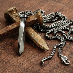 Always stylish, this men's antiqued steel necklace by Vitaly is classic.
