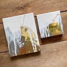 """Original encaustic paintings by Tamara Lepianka. This is a set of two. One 8x10 inch and one 6x6 inch painting. Encaustic and mixed media on wood panel with a .75"""" cradle. The edges are finished in a light brown pigmented shellac as shown. The paintings are wired and ready to hang. 8 x 10 x .75 in 
