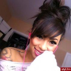 Hair + Tattoos + I like those pink ear buds!