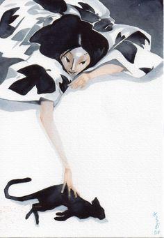 Galerie Julien Brugeas - Watercolor by Jean-philippe Kalonji - Neko Love