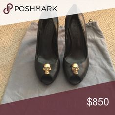 HP 🎉 ALEXANDER MCQUEEN diamond skull heels pumps HOST PICK for BEST IN SHOES👠👠👠! NO TRADES! Thanks! 100% authentic MCQUEEN Black leather with gold skull and crystals open toe ALEXANDER MCQUEEN heels. Shoe dust bag included. 4 1/2 inch heel. Alexander McQueen Shoes Heels