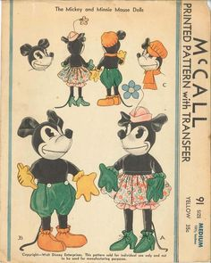 C 1933 Mickey & Minnie Mouse Doll Sewing Pattern McCall 91 Doll Sewing Patterns, Mccalls Patterns, Vintage Sewing Patterns, Clothes Patterns, Sewing Dolls, Purse Patterns, Dress Patterns, Sewing Ideas, Sewing Projects