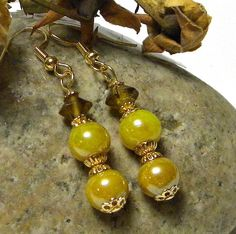 Yellow Round Glass Bead Earring w/Gold Findings by marilyn1545, $15.00
